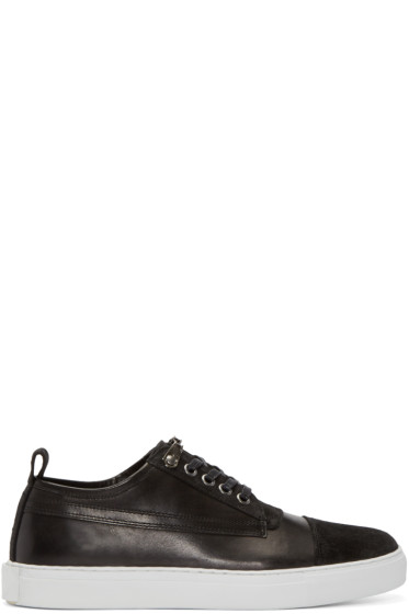 McQ Alexander Mcqueen - Black Suede & Leather Low-Top Sneakers