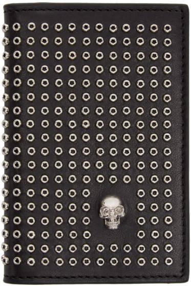 Alexander McQueen - Black Leather Skull & Eyelet Pocket Organizer