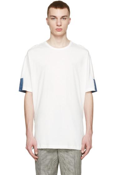 3.1 Phillip Lim - White & Blue Panel T-Shirt