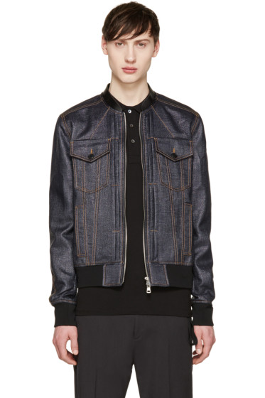 Juun.J - Navy Faux-Denim Jacket