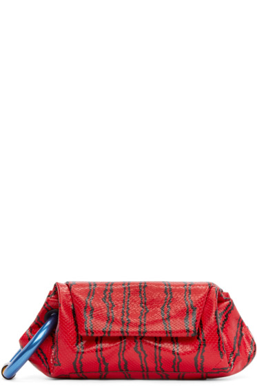 Kenzo - Red Leather Embossed Clutch
