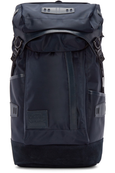 Master-Piece Co - Navy Nylon & Suede Backpack