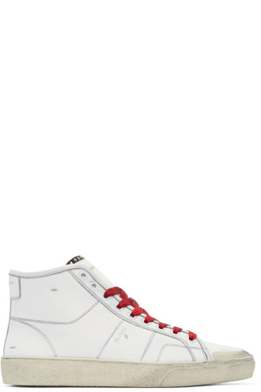 Saint Laurent - White & Red Court Classic SL/27M High-Top Sneakers