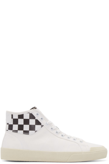 Saint Laurent - White Check Court Classic High-Top Sneakers