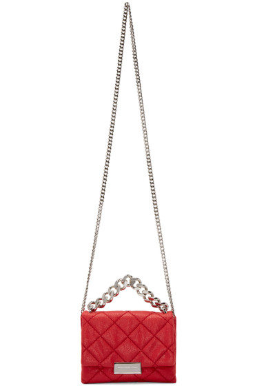 Stella McCartney - Red Mini Falabella Shaggy Deer Beckett Bag
