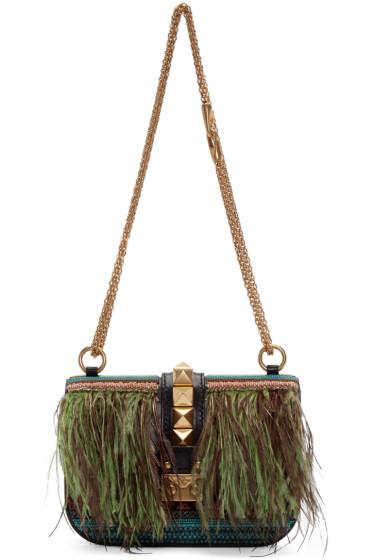 Valentino - Multicolor Medium Rockstud Lock Feathers Bag