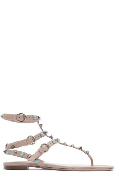 Valentino - Beige Stone & Rockstud Sandals