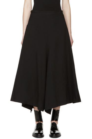 Yohji Yamamoto - Black Asymmetric Flared Trousers