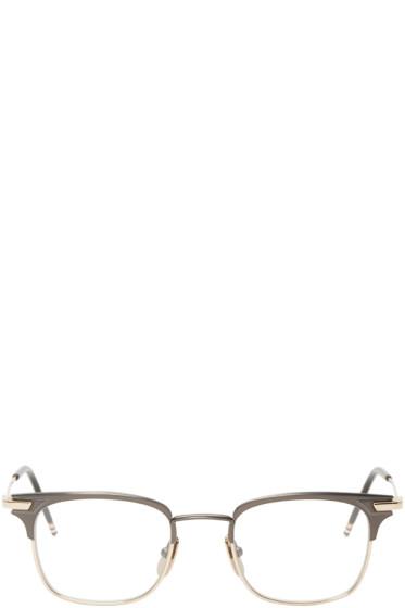 Thom Browne - Gunmetal & Gold Square TB-102 Glasses