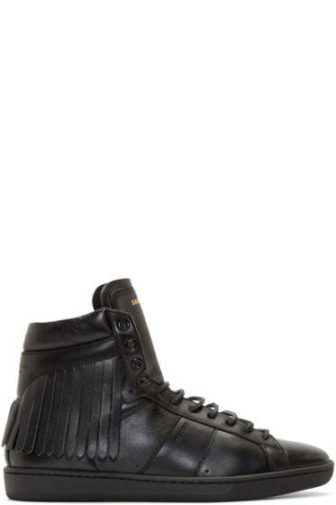 Saint Laurent - Black Leather Fringed Sneakers