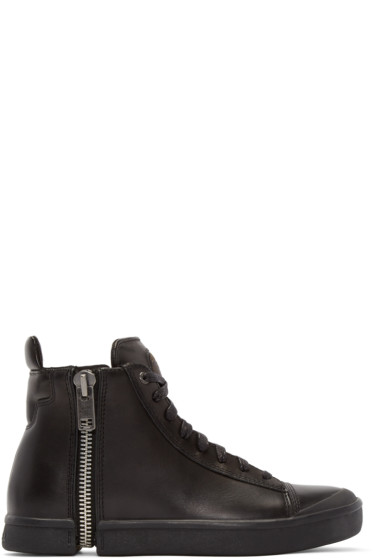 Diesel - Black Leather S-Nentish High-Top Sneakers