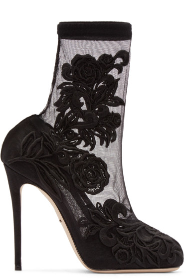 Dolce & Gabbana - Black Lace Sock Heels