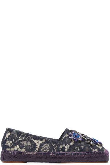 Dolce & Gabbana - Navy Embellished Lace Espadrilles