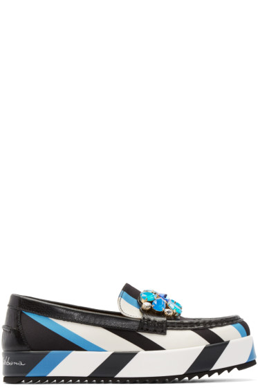 Dolce & Gabbana - Tricolor Embellished & Striped Loafers