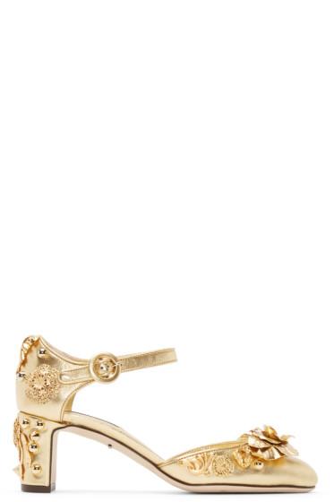 Dolce & Gabbana - Gold Embellished Mary Jane Heels