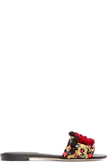 Dolce & Gabbana - Black Pom Pom Sandals
