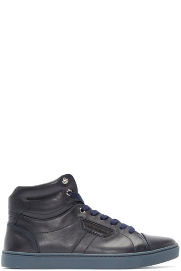 Dolce & Gabbana - Navy London High-Top Sneakers