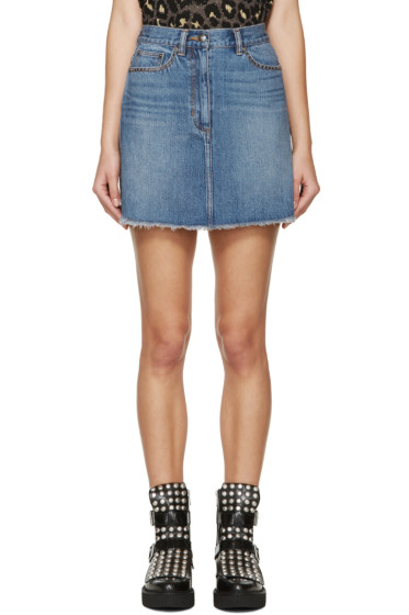 Marc by Marc Jacobs - Blue Embroidered Cherry Miniskirt