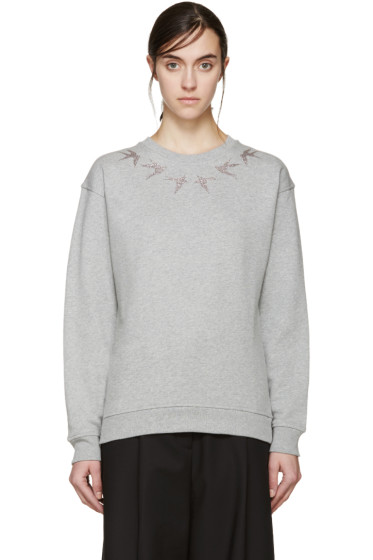 McQ Alexander Mcqueen - Grey Glittered Swallow Pullover