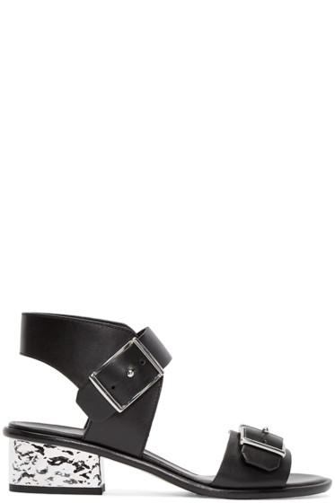 McQ Alexander Mcqueen - Black Metallic Heeled Sandals