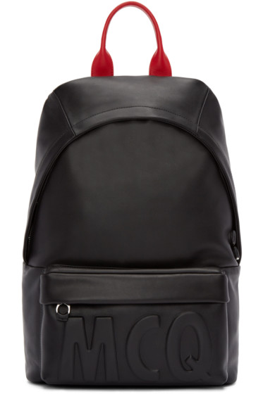 McQ Alexander Mcqueen - Black Leather Logo Backpack