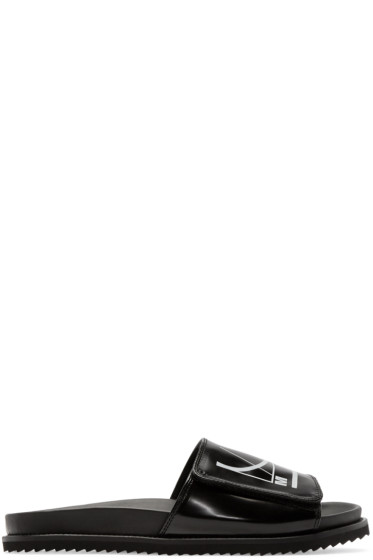 McQ Alexander Mcqueen - Black Logo Slip-On Sandals