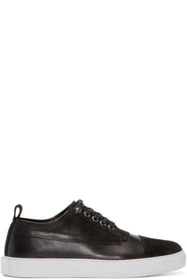McQ Alexander Mcqueen - Black Suede & Leather Low-Top Sneakers