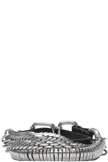 Goti - Silver & Leather Twisted Chain Bracelet
