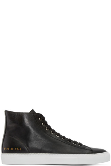 Common Projects - Black Tournament High-Top Sneakers