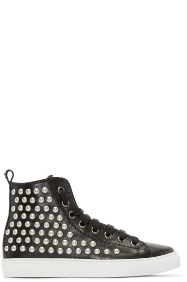 Dsquared2 - Black Studded High-Top Sneakers
