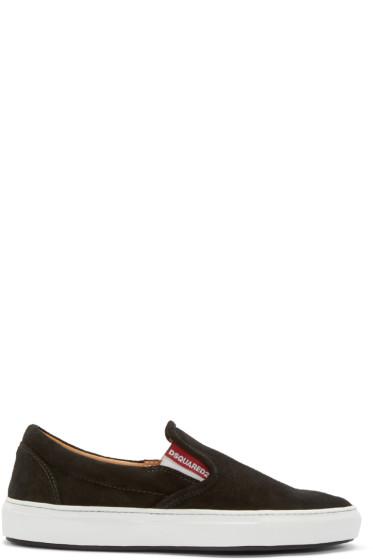 Dsquared2 - Black Velour Slip-On Sneakers