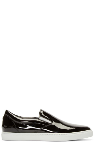 Dsquared2 - Black Patent Leather Slip-On Sneakers
