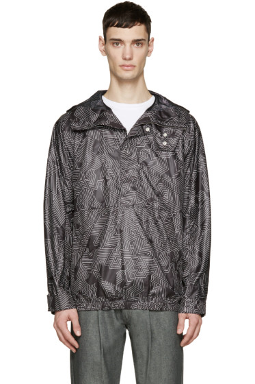 Helmut Lang - Black & White Labyrinth Anorak Jacket