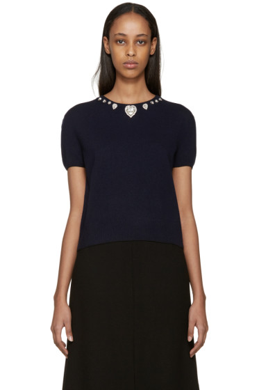 Christopher Kane - Navy Jewel Collar Sweater