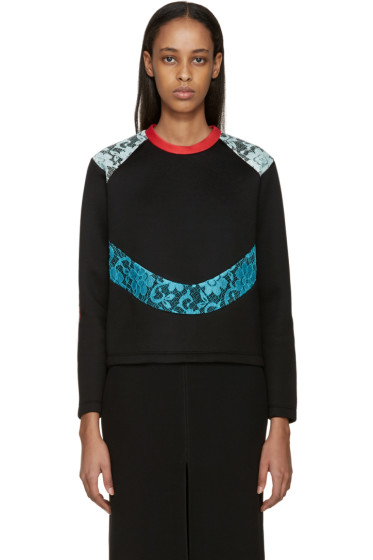 Christopher Kane - Black Lace Panel Scuba Pullover