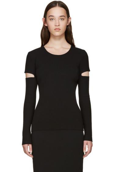 Alexander Wang - Black Ribbed Slit Sleeves Pullover