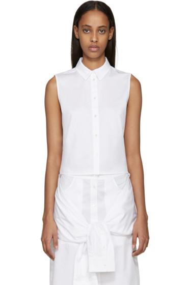 T by Alexander Wang - White Sleeveless Poplin Shirt