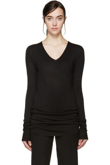 Rick Owens - Black Wool V-Neck Sweater