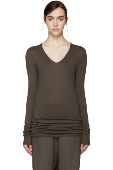 Rick Owens - Grey Wool V-Neck Sweater