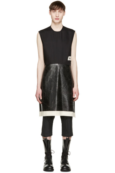 Rick Owens - Black Coated Sleeveless T-Shirt