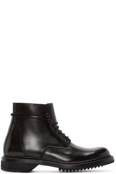 Rick Owens - Black Leather Combat Boots
