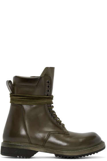 Rick Owens - Green Leather Lace-Up Army Boots