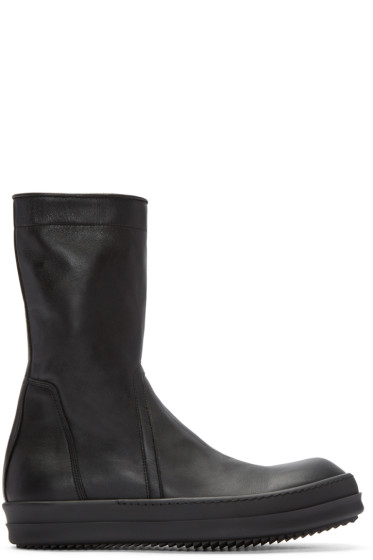 Rick Owens - Black Leather Creeper Boots
