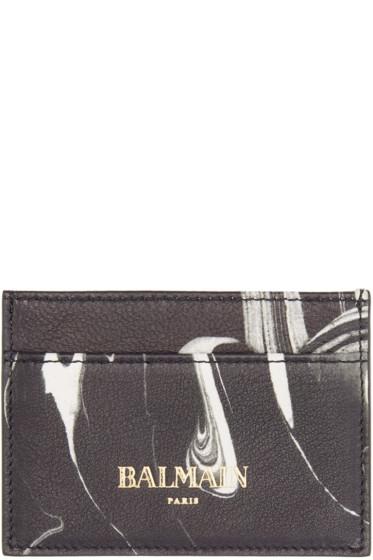 Balmain - Black Marble Leather Card Holder