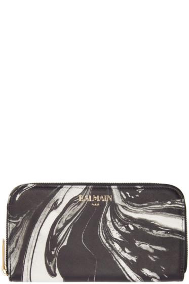 Balmain - Black Marble Print Wallet