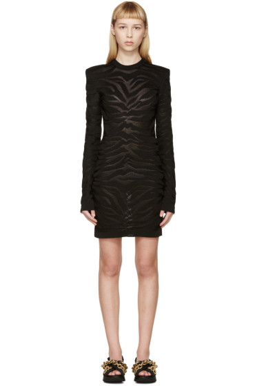 Balmain - Black Intarsia Zebra Dress