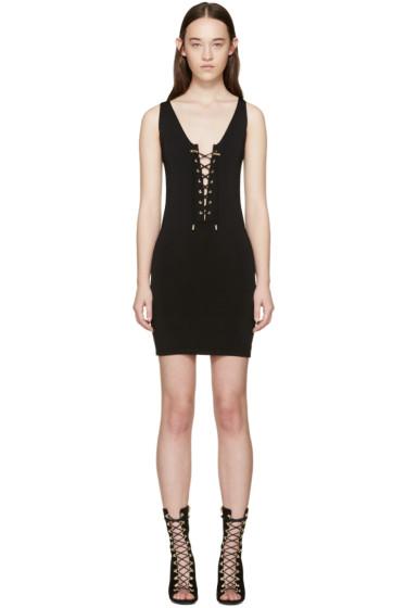 Balmain - Black Rib Knit Lace-Up Dress