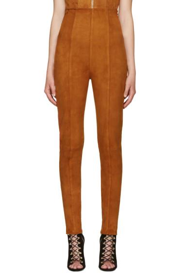 Balmain - Brown Suede High-Rise Trousers
