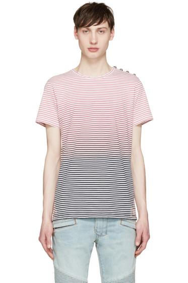 Balmain - Tricolor Striped Degrade T-Shirt