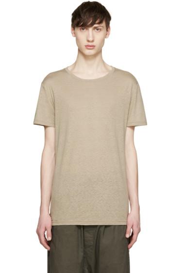 Balmain - Tan Raw Silk T-Shirt